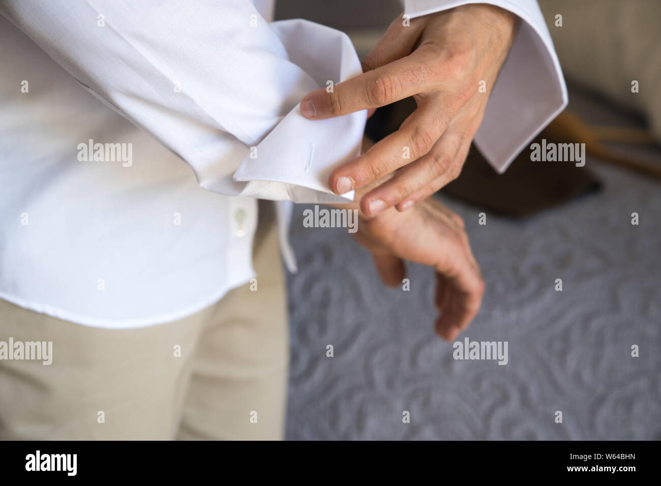 Pre Wedding Preparations. Groom getting ready for wedding ceremony. Greek, Cypriot wedding traditions Stock Photo