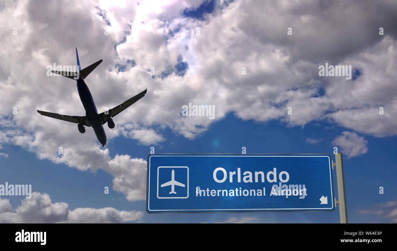 Jet plane landing in Orlando, Florida, USA  City arrival