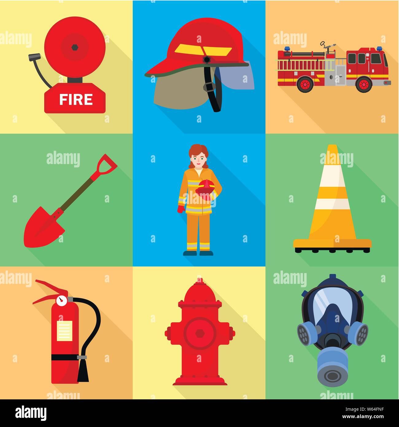 Set of fire equipment fireman Clipart | k46316970 | Fotosearch