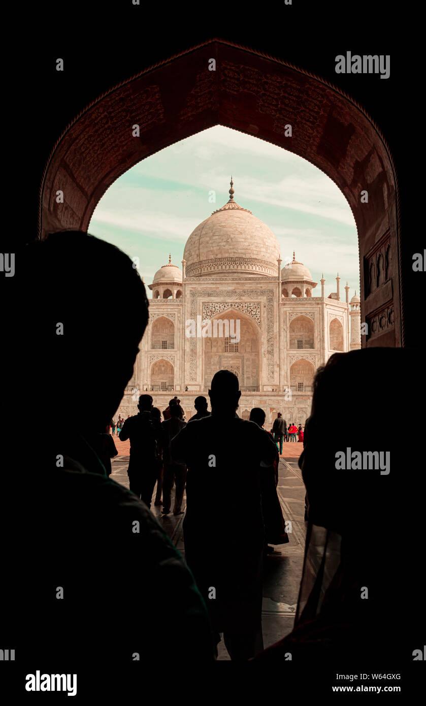 Taj Mahal Beautiful View Tourists Silhouette Stock Photo