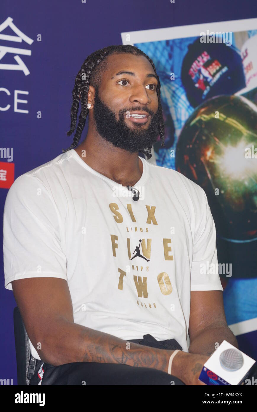 NBA star Andre Drummond of Detroit Pistons attends a press conference for the NBA Championship Exhibition in Shanghai, China, 31 August 2018. Stock Photo