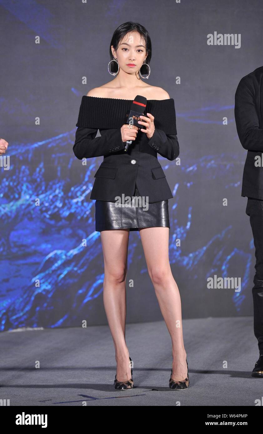 Chinese Singer And Actress Victoria Song Or Song Qian Attends A Press Conference For New Movie Legend Of The Ancient Sword In Beijing China 25 Sep Stock Photo Alamy