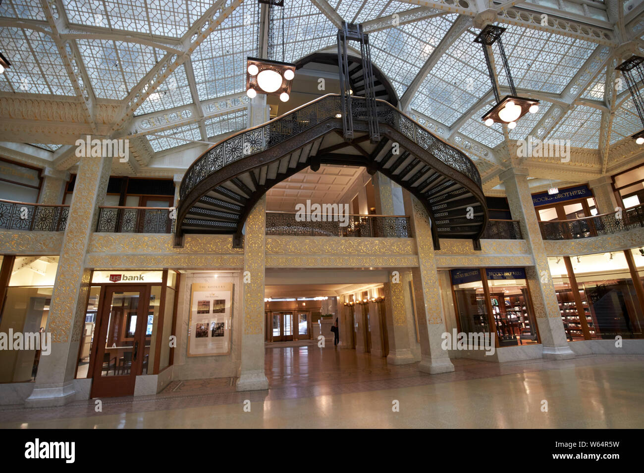 interior of the two storey sky lit lobby of the rookery building designed by frank lloyd wright Chicago IL USA Stock Photo