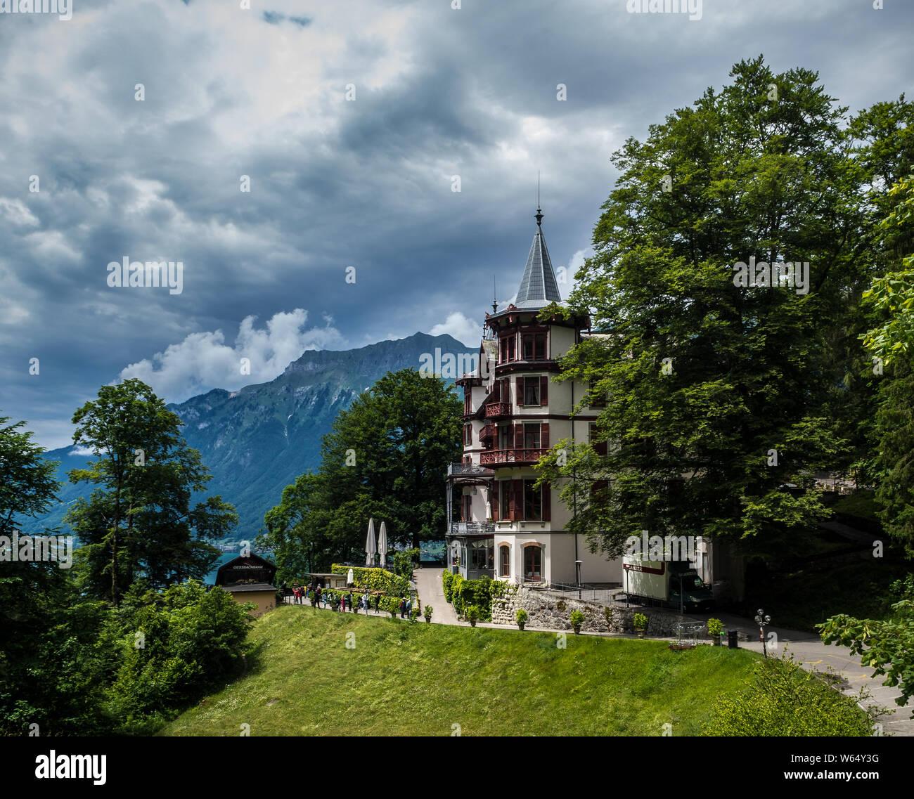 Grand Hotel Giessbach on Lake Brienz in Switzerland Stock Photo