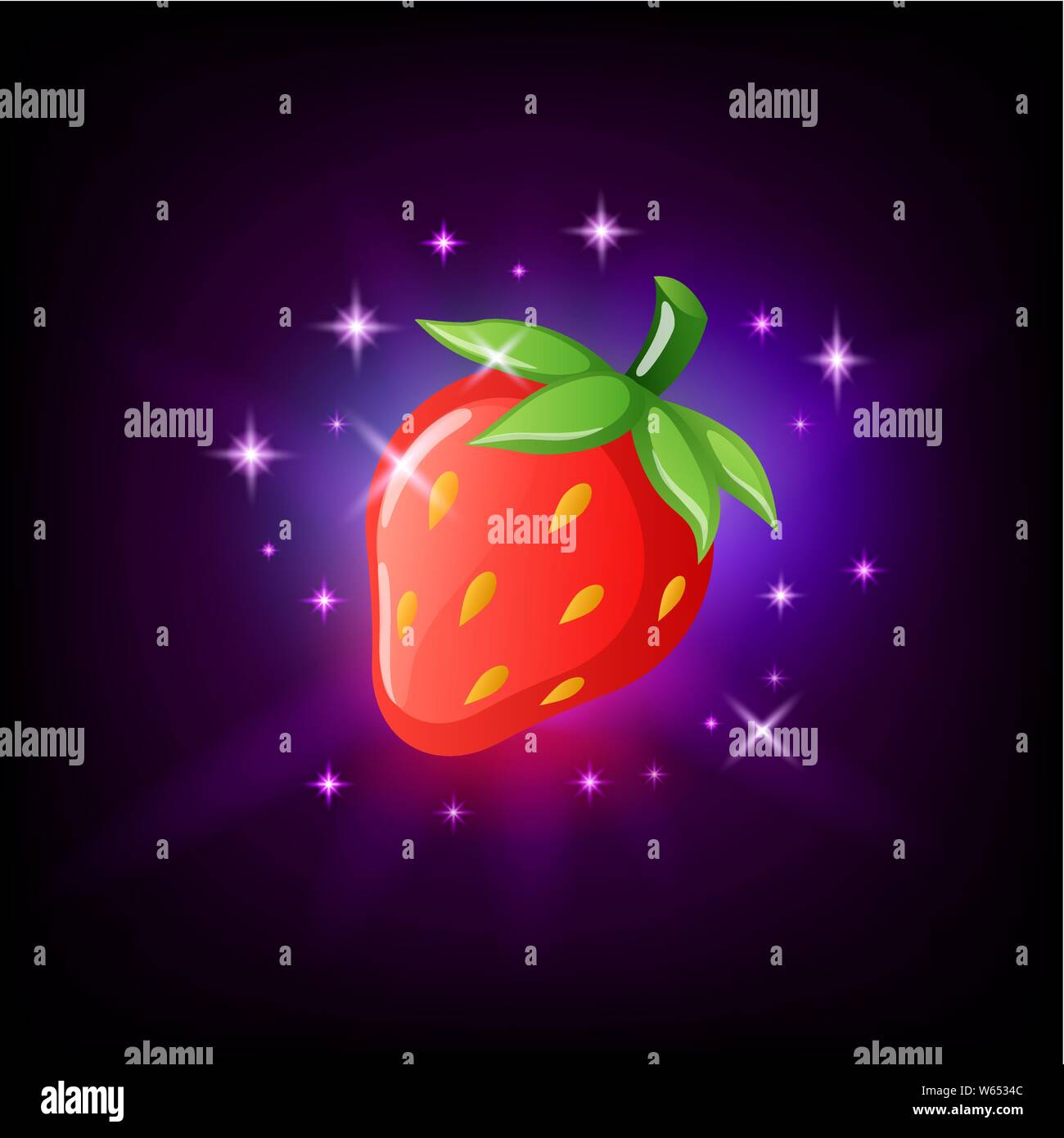 Bright Red Strawberry With Green Leaf And Seeds Slot Icon For Online Casino Or Logo For Mobile Game On Dark Purple Background Vector Illustration Stock Vector Image Art Alamy
