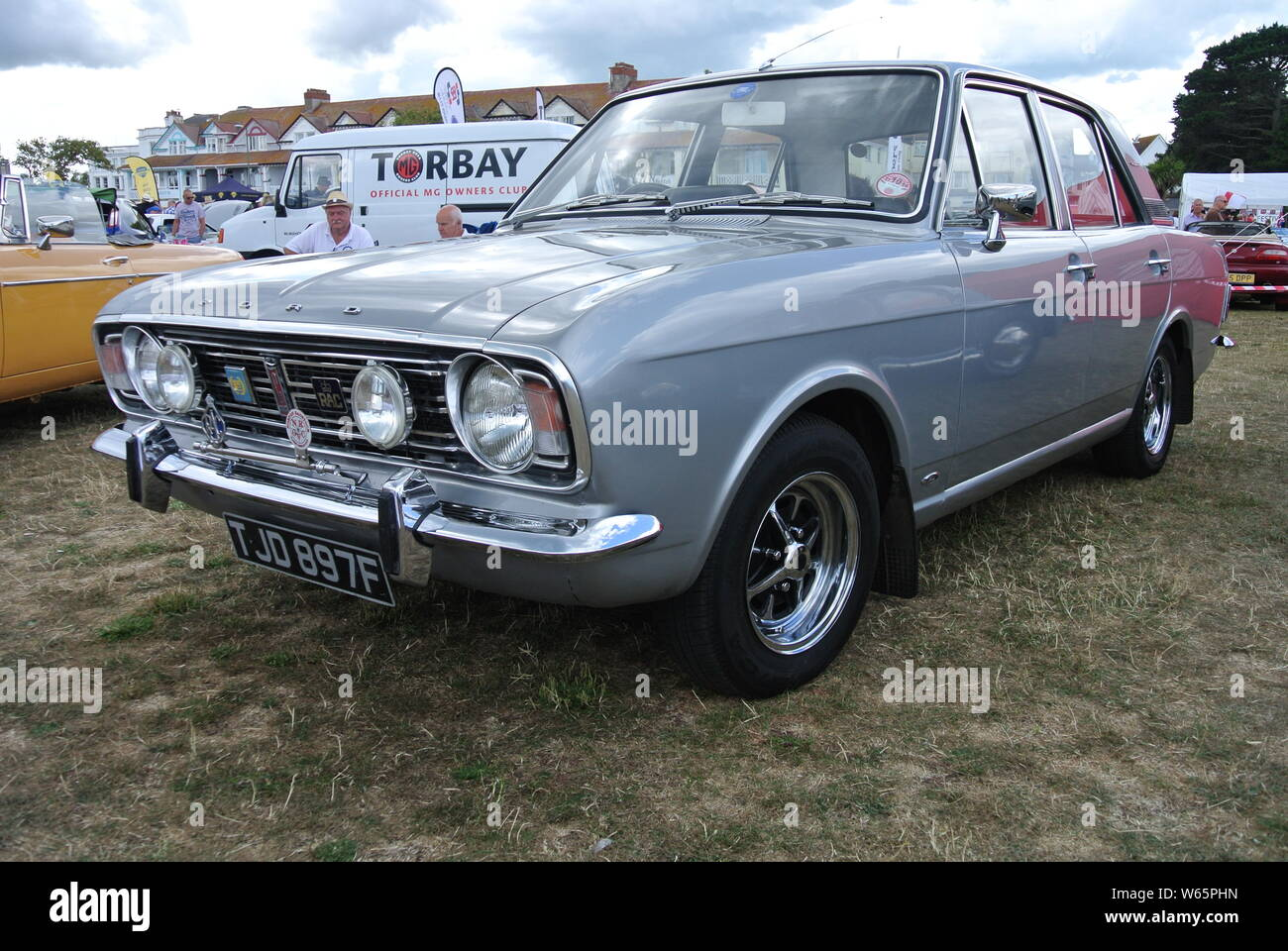 A 1968 Ford Cortina parked up on display at the English Riviera classic car show, Paignton, Devon, England. UK. Stock Photo