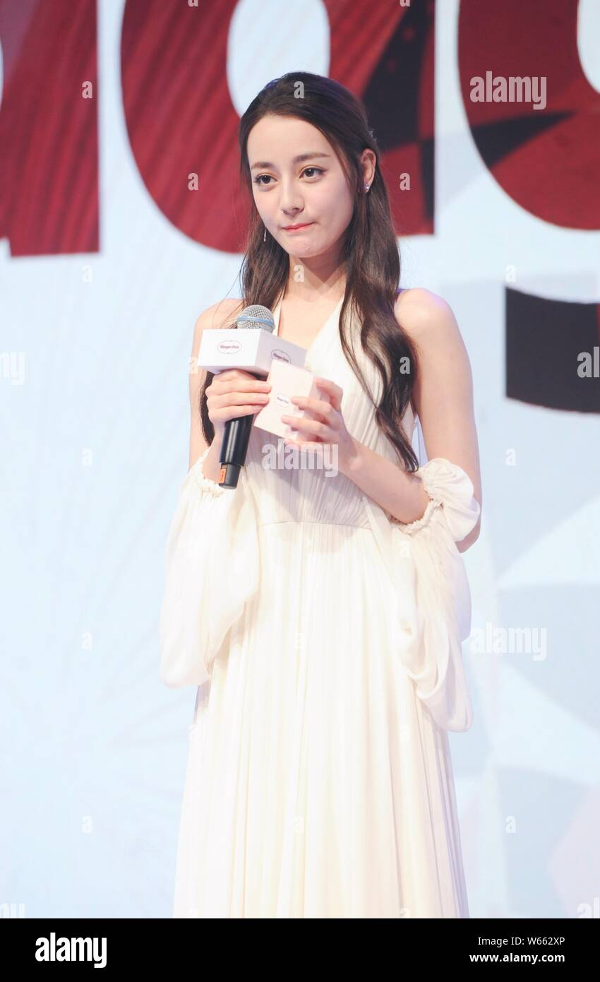 Chinese Uigur actress Dilraba Dilmurat attends a promotional event for Haagen-Dazs in Shanghai, China, 15 August 2018. Stock Photo