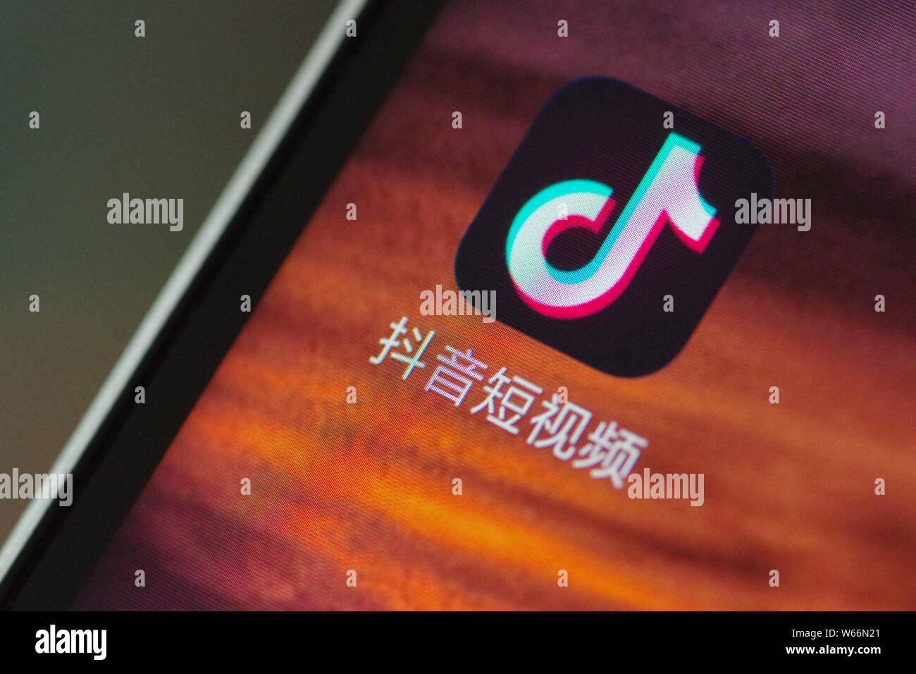 File A Chinese Mobile Phone User Looks At An Icon Of Tik Tok An Overseas Iteration Of Short Video App Douyin Of Beijing Bytedance Technology Co L Stock Photo Alamy