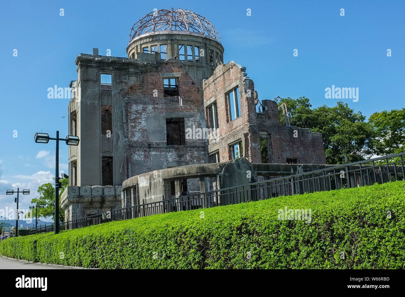 The Atomic Bomb Dome where At 8:15am on 6th August 1945, the first atomic bomb in human history was dropped on Hiroshima, Japan. Stock Photo