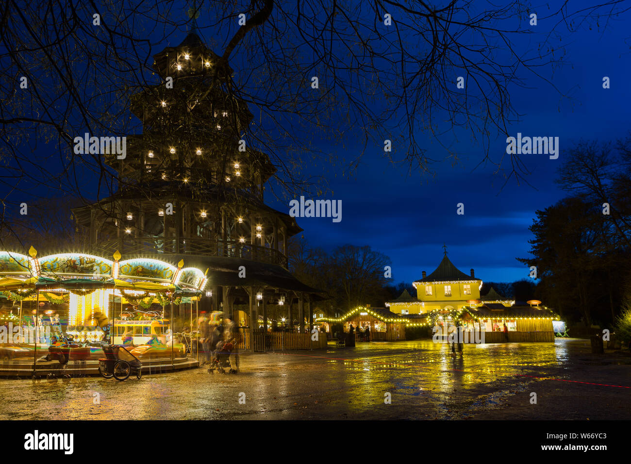 Christmas In Munich Germany.Traditional Christmas Market At The Chinese Tower Munich
