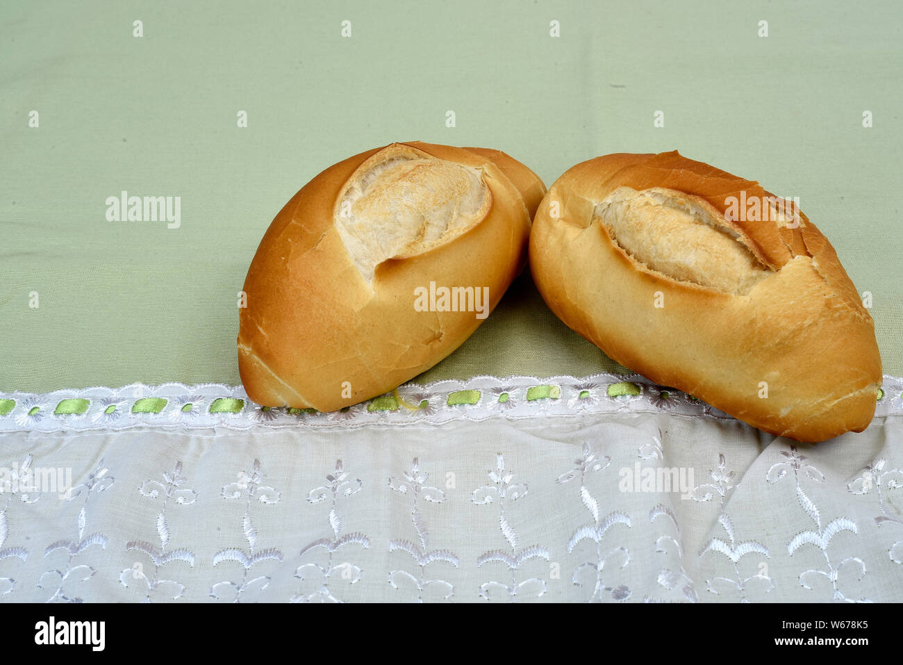french bread roasted on the table Stock Photo