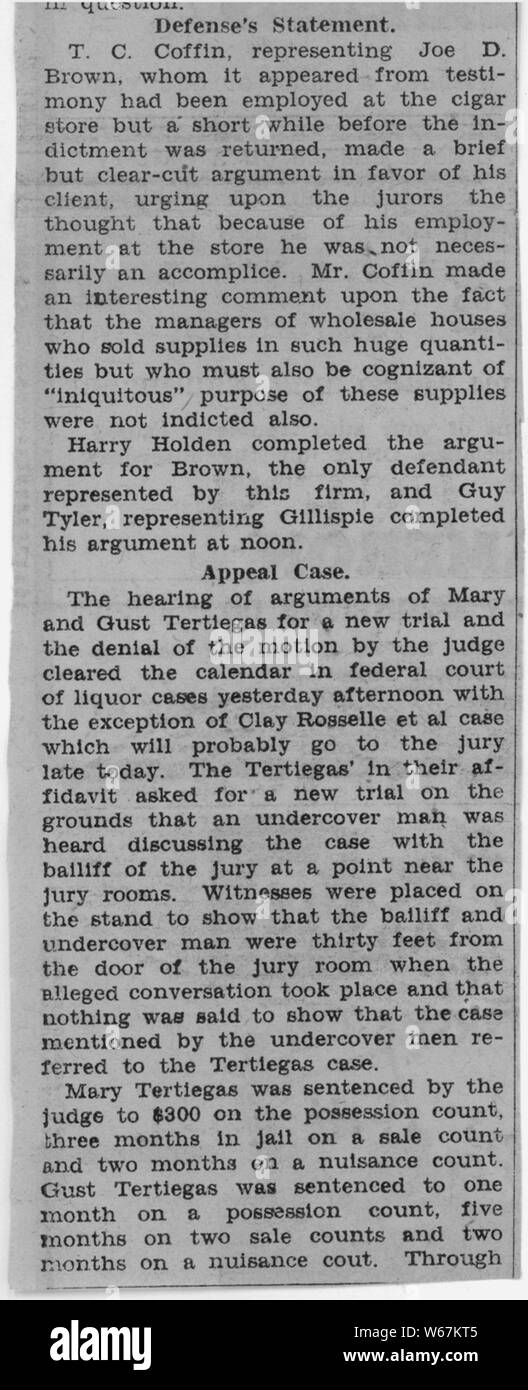 Newspaper clippings regarding the Roselle trial; Scope and content:  This document is part of a file pertaining to a case concerned with the bootlegging activities of Clay Roselle, a resident of Idaho Falls, Idaho. Stock Photo