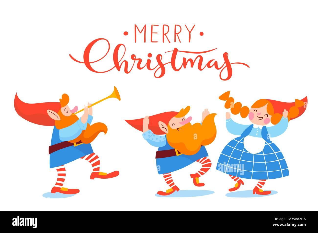 Christmas Dancing Cartoon.Christmas Poster Vector Design With Cartoon Leprechauns
