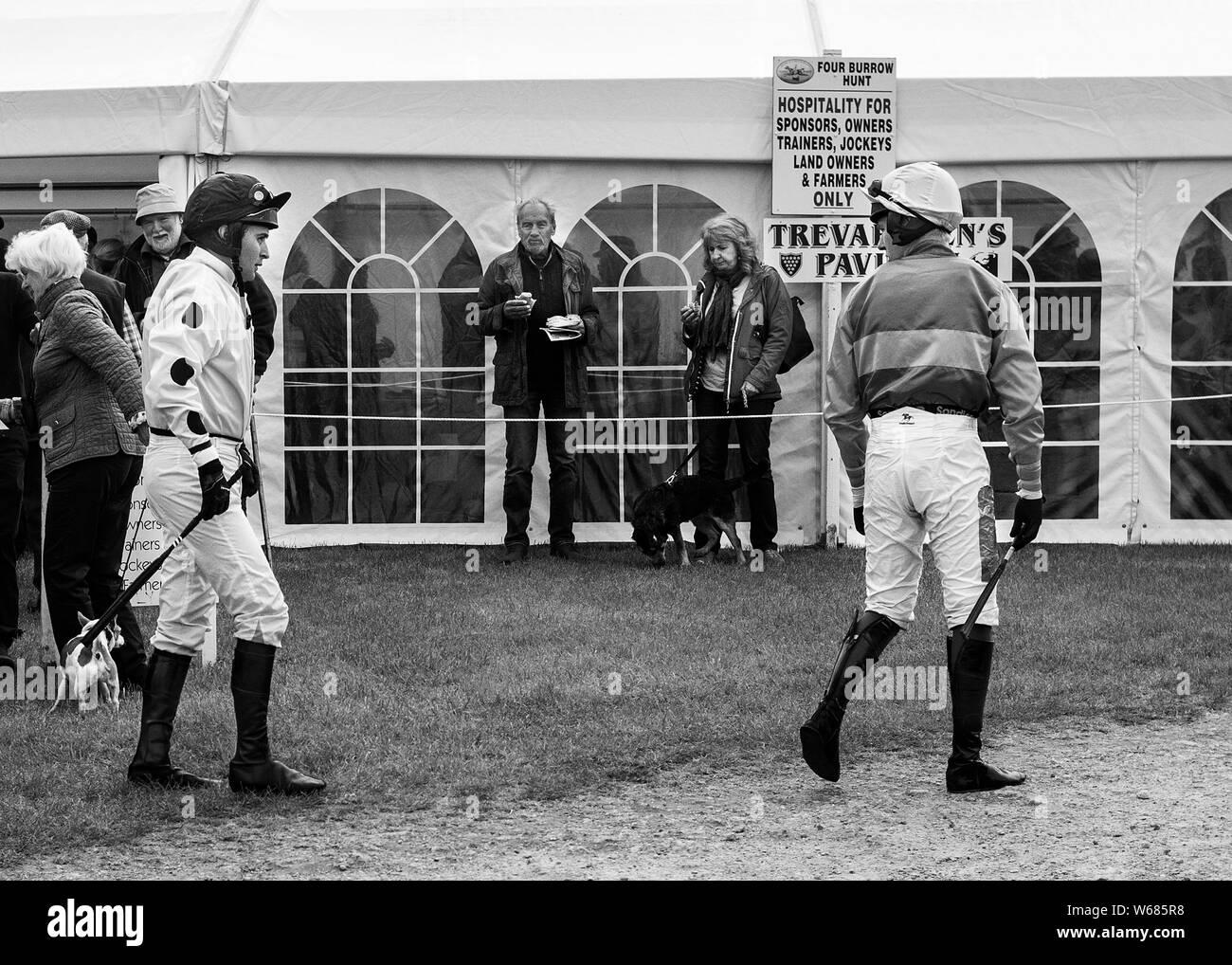 jockeys at the four burrow hunt point to point horse race 2019 Stock Photo