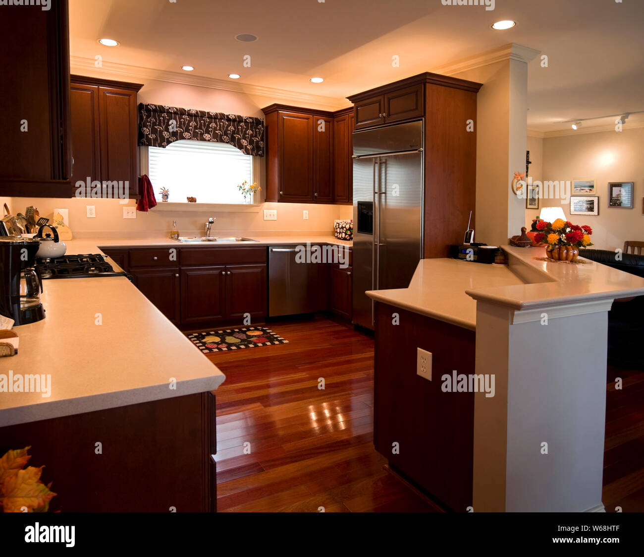 Kitchen Dark Wood Cabinets Stainless Steel Appliances Brazilian Cherry Floors Room Window Gas Range Ample Counter Space Recessed Lighting Hou Stock Photo Alamy