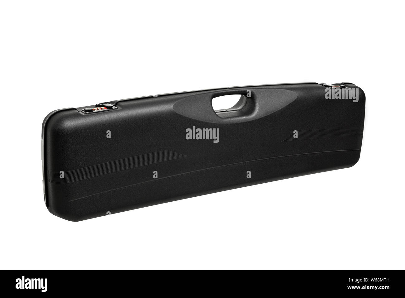 Plastic case for weapons with a combination lock and handle for transport isolate on a white background. Stock Photo