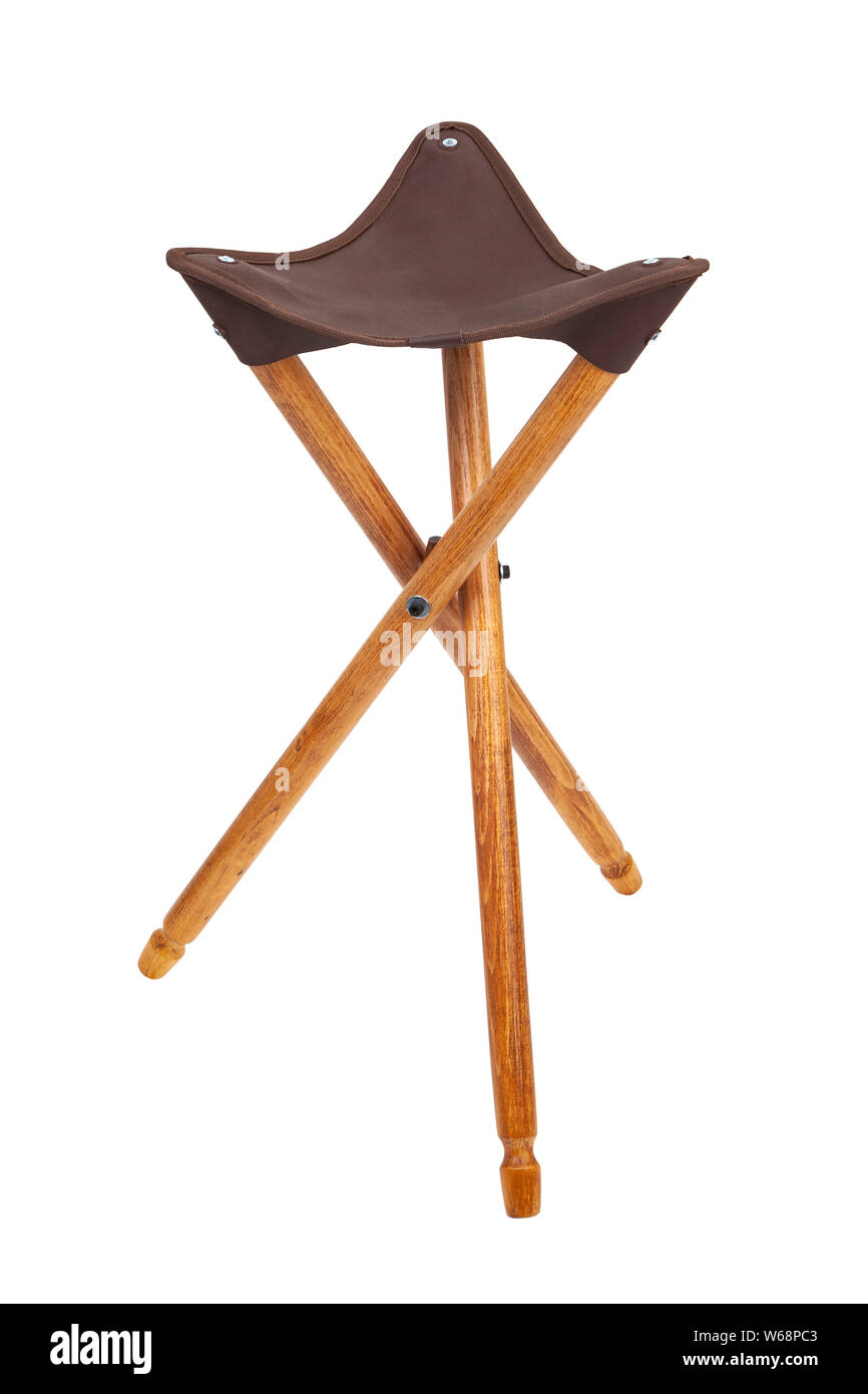 Swell Folding Wooden Hunting Stool Tripod Isolate On White Squirreltailoven Fun Painted Chair Ideas Images Squirreltailovenorg