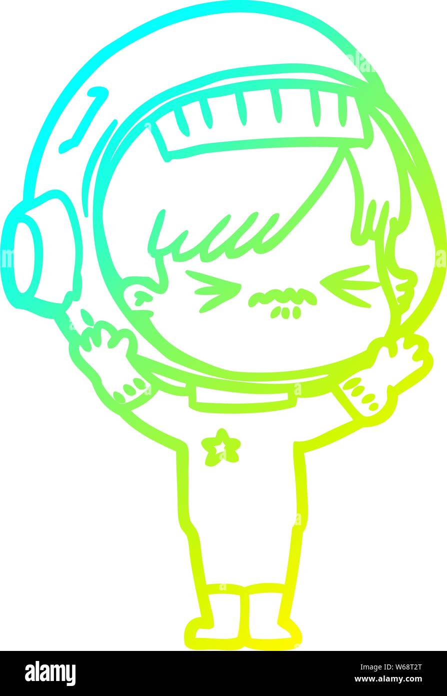 Cold Gradient Line Drawing Of A Angry Cartoon Space Girl Stock