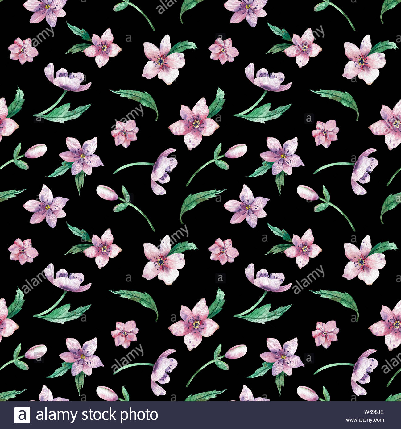 Seamless Watercolor Floral Pattern On A Black Background Pink