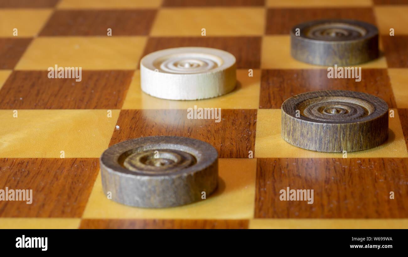 Black vs. White on chessboard Stock Photo