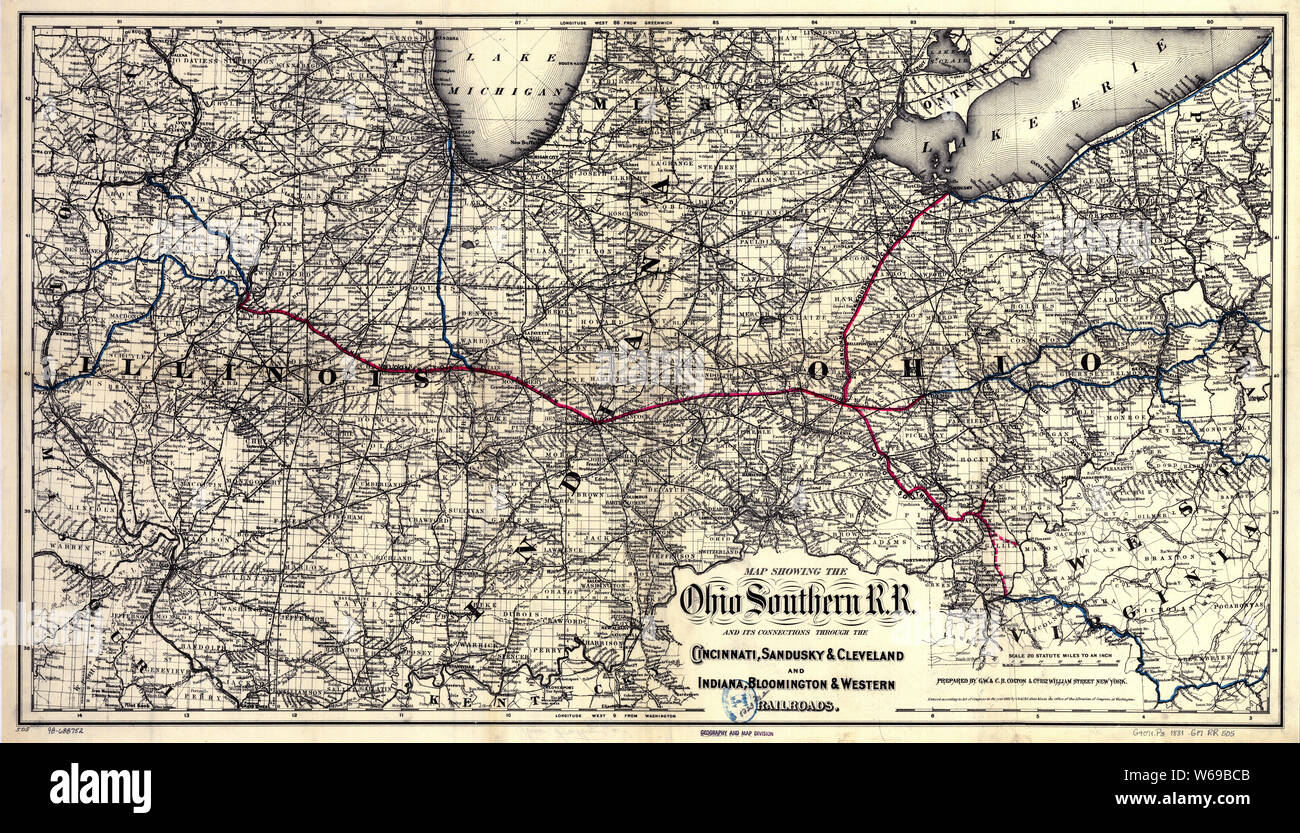 0337 Railroad Maps Map showing the Ohio Southern R R and its ...