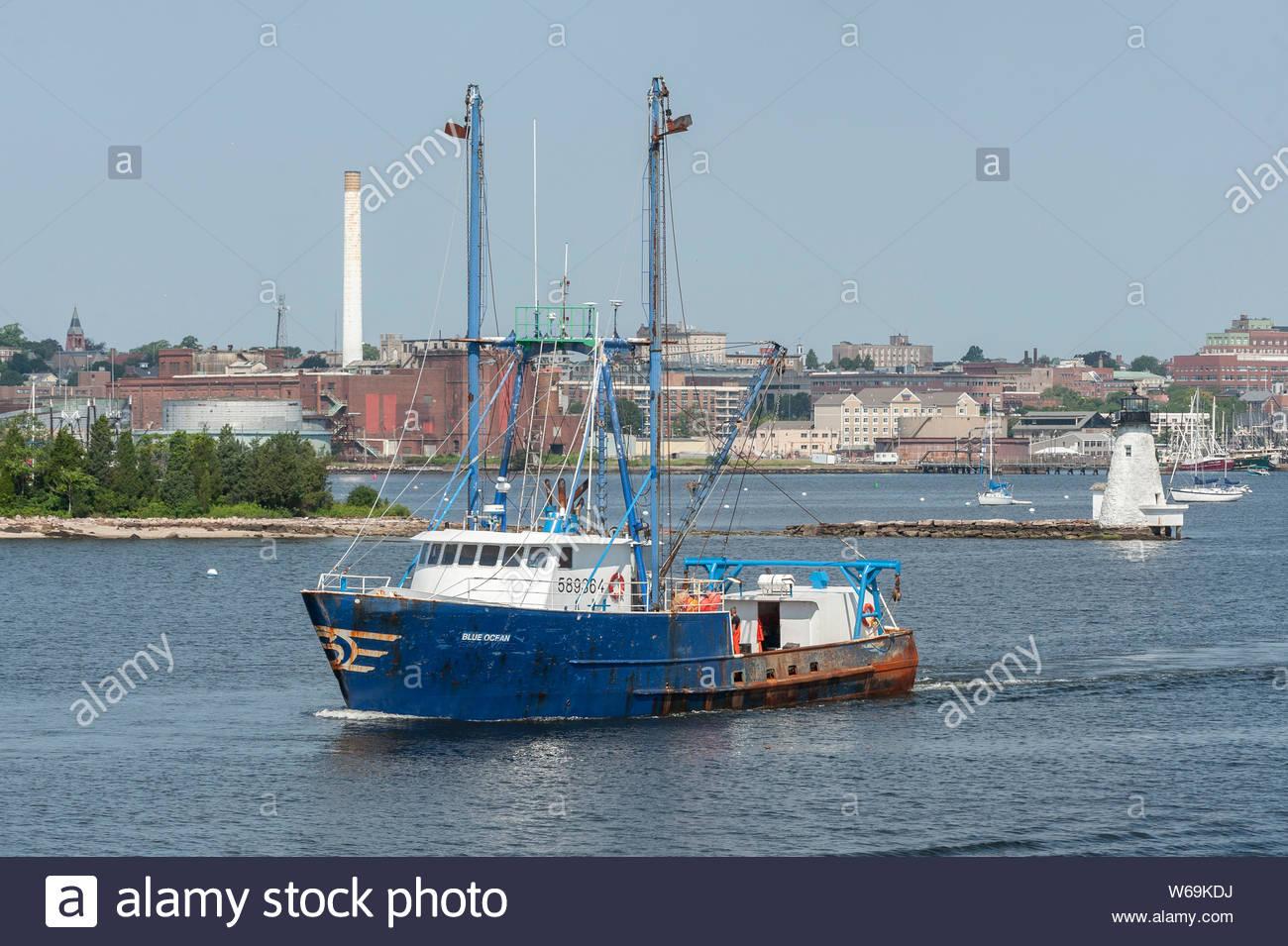 New Bedford, Massachusetts, USA - July 26, 2019: Scalloper  Blue Ocean, hailing port Newport News, VA, in New Bedford inner harbor Stock Photo