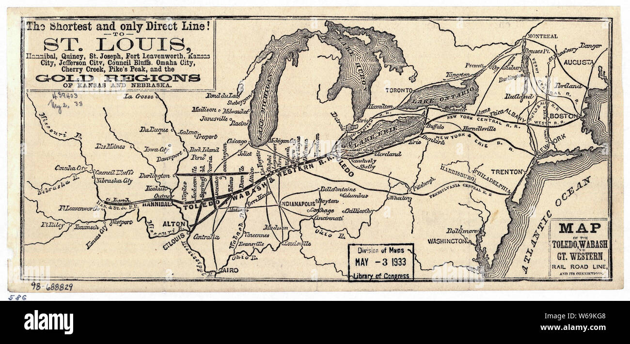 0401 Railroad Maps Map of the Toledo Wabash and Gt Western Rail Road Line and its connections Rebuild and Repair Stock Photo