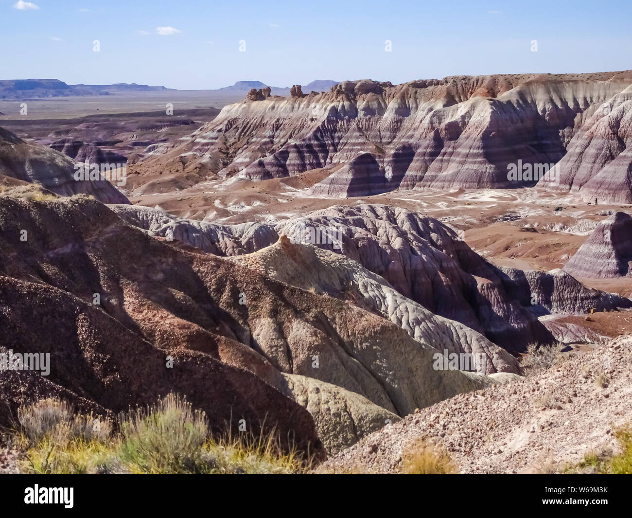 3.5 mile Blue Mesa drive in Petrified Forest National Park on Route 66 in Arizona Stock Photo