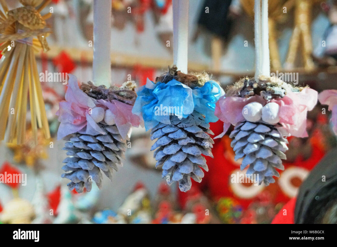 Colorful Christmas Tree Decorations.Christmas Tree Decorations Made Of Glass Wood And Fabric Of