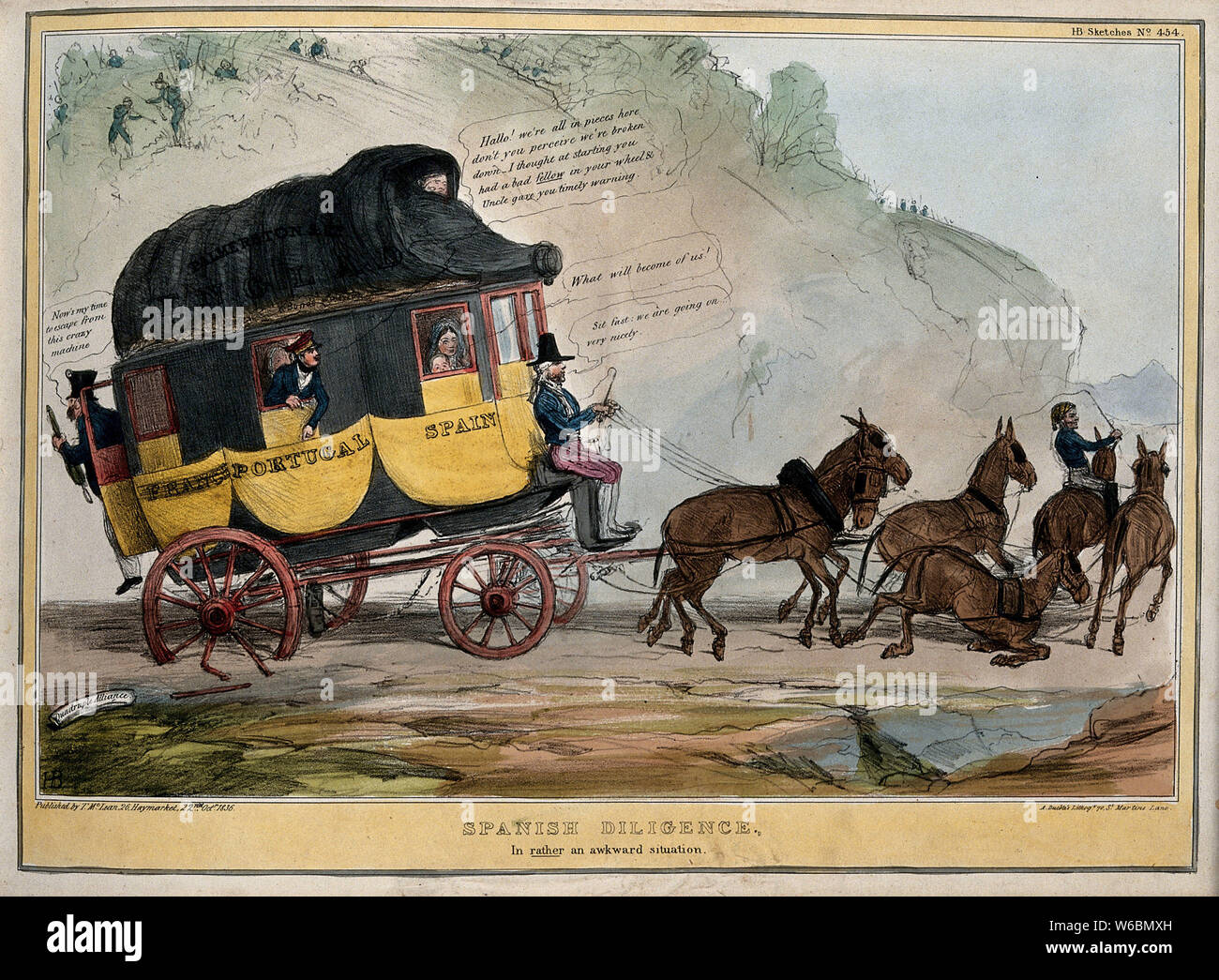 A coach representing the quadruple alliance of England, France, Portugal and Spain is disabled owing to a broken wheel. Coloured lithograph by H.B. (John Doyle), 1836. Stock Photo