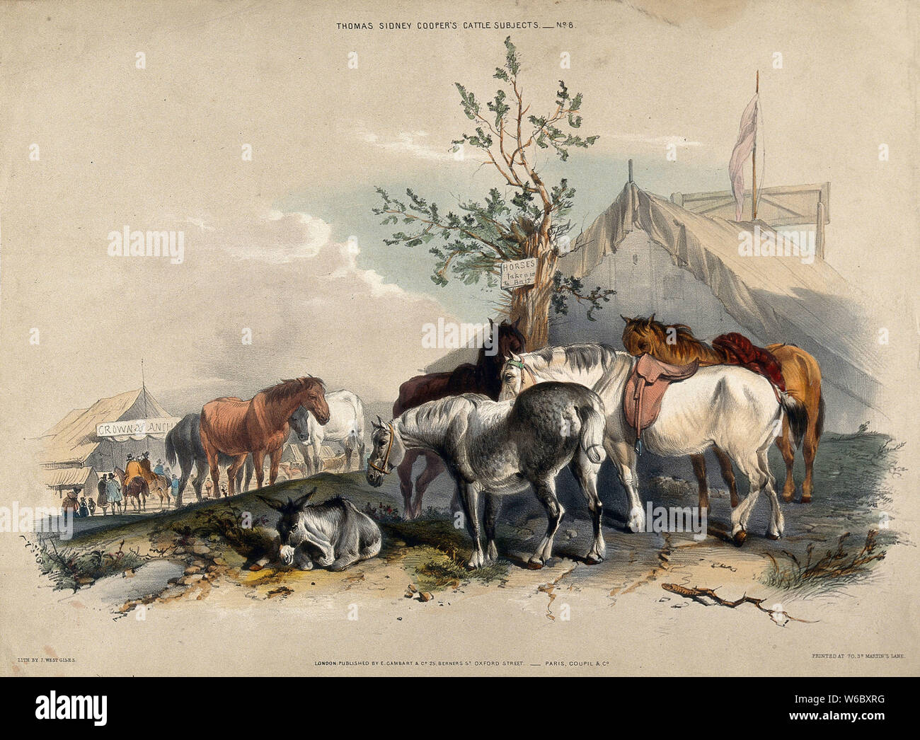 A group of horses halting on a journey for refreshment and a rest outside fairground tents. Coloured lithograph by J. W. Giles after T. S. Cooper. Stock Photo