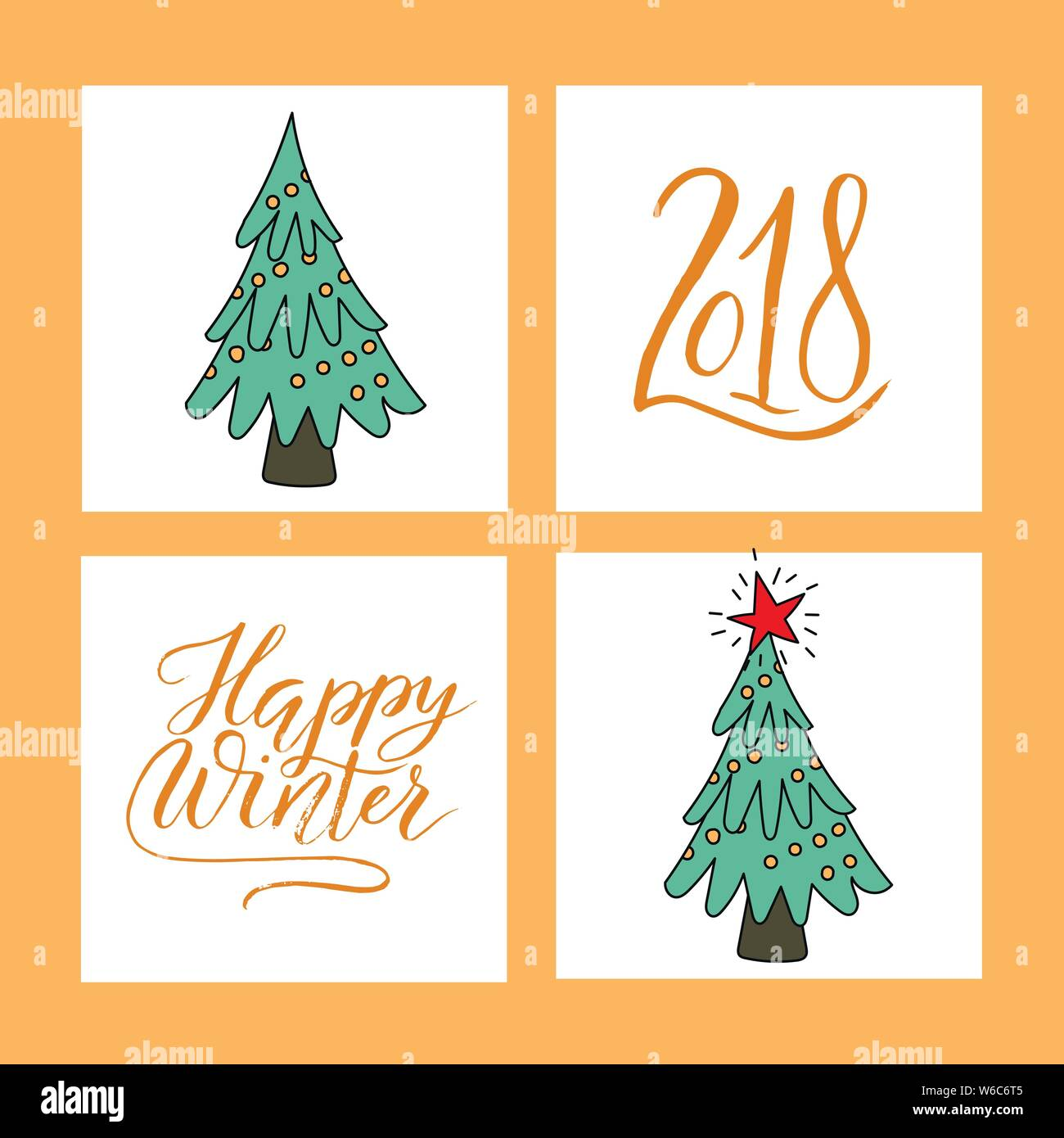 Vector Christmas card set with Christmas trees and hand ...