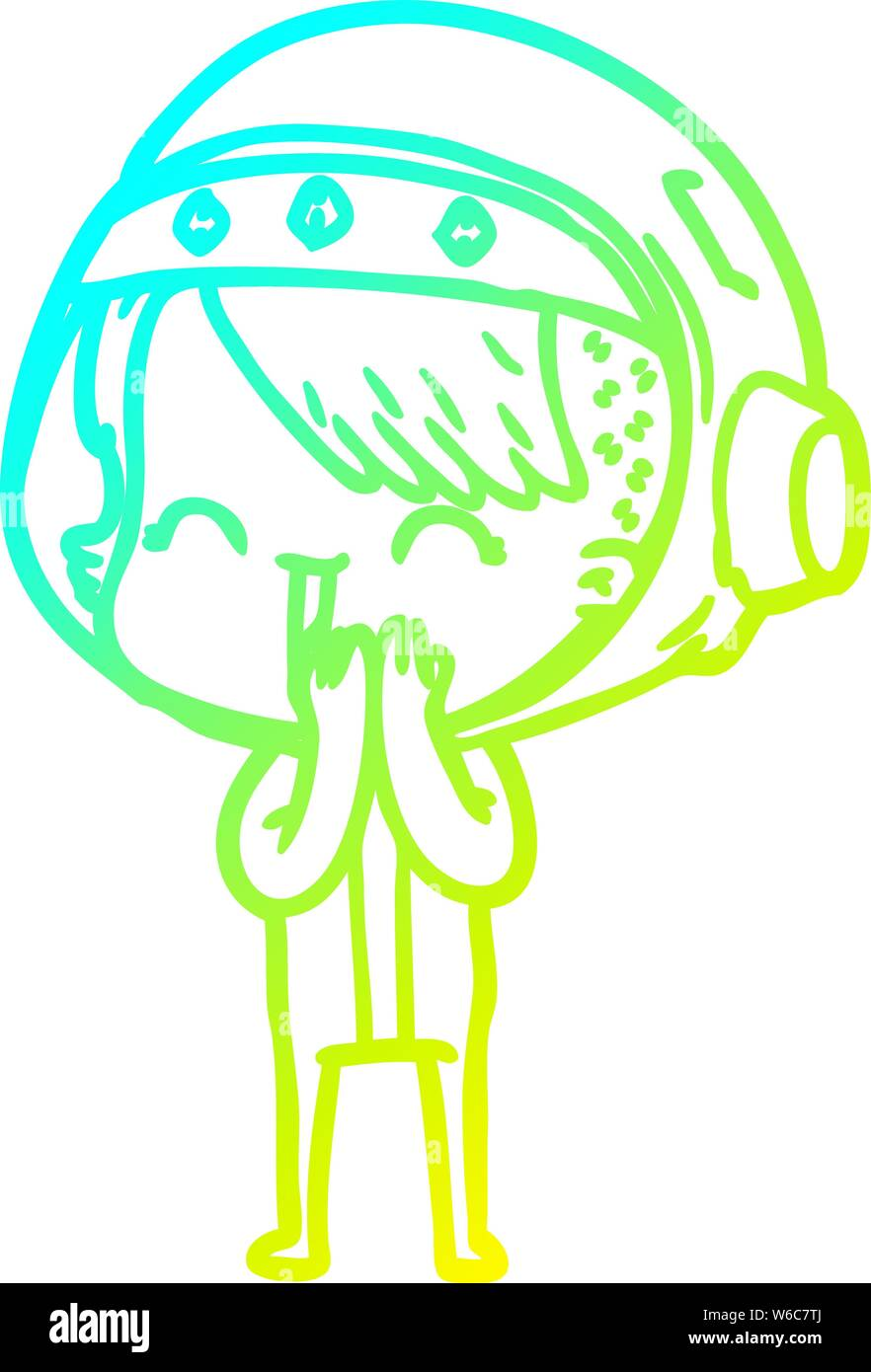 Cold Gradient Line Drawing Of A Giggling Cartoon Space Girl Stock