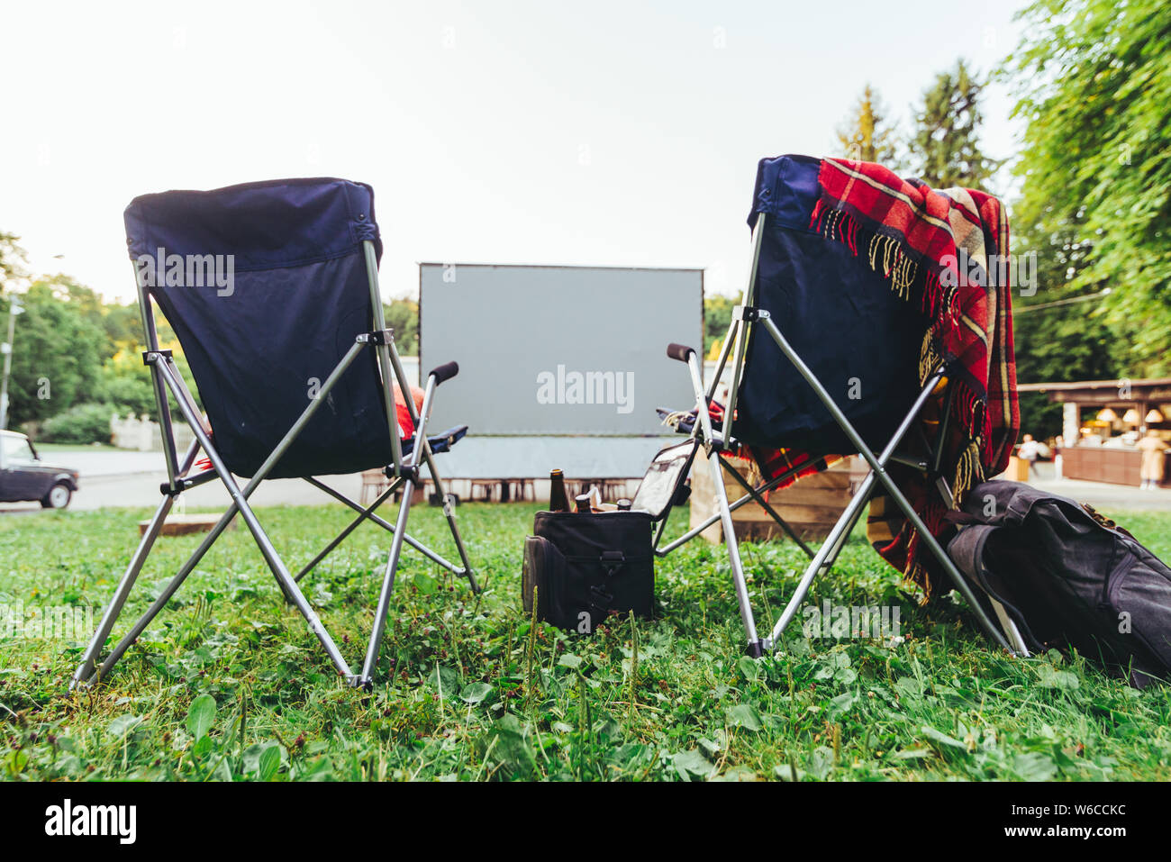 Incredible Open Air Cinema Concept Folding Chairs In Front Of Big White Ncnpc Chair Design For Home Ncnpcorg