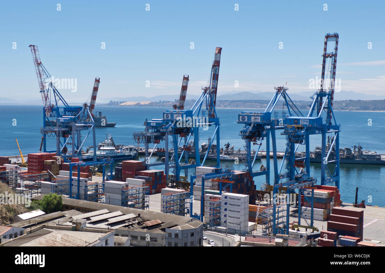 Container port at the harbour in Valparaiso, Chile Stock Photo