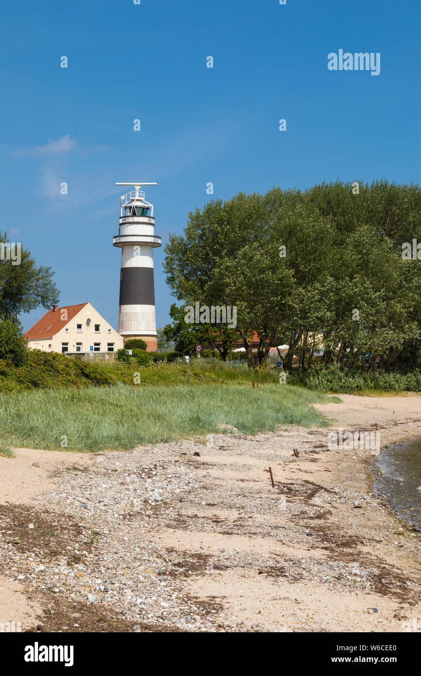 Lighthouse Bülk and beach of Strande near Kiel on the Baltic Sea coast Stock Photo