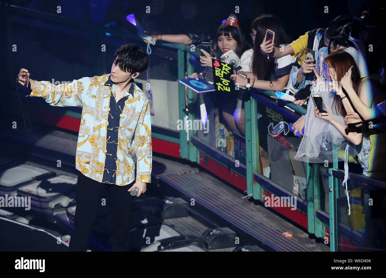 TAIWAN OUT**Members of South Korean boy group Super Junior perform