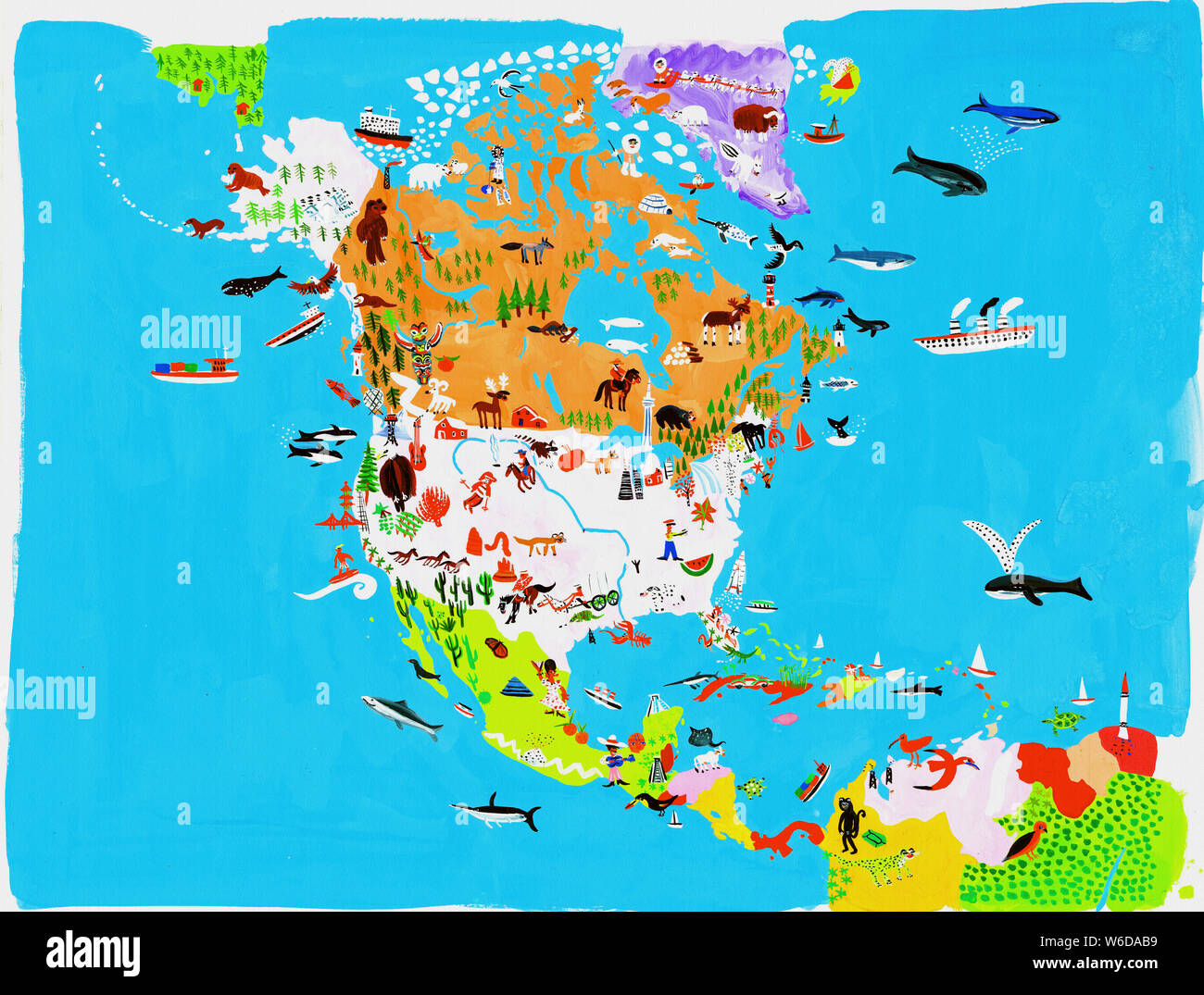 Illustrated map of North and Central American culture and ...
