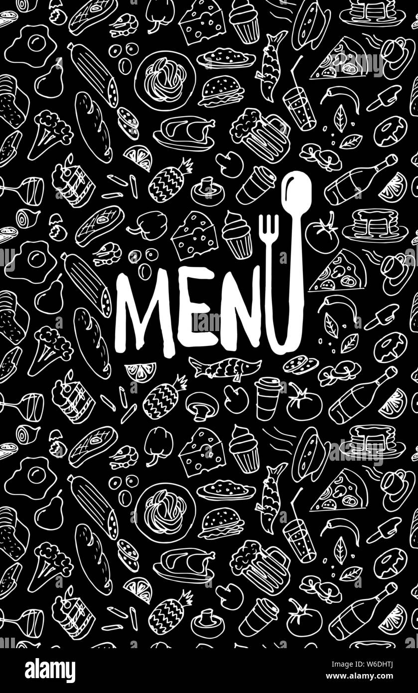 Cafe Restaurant Menu Cover Design Template Title Page With Hand Drawn Food Doodle Outline Colored Sketch Black Pattern Vector Cooking Element Illustration Stock Vector Image Art Alamy
