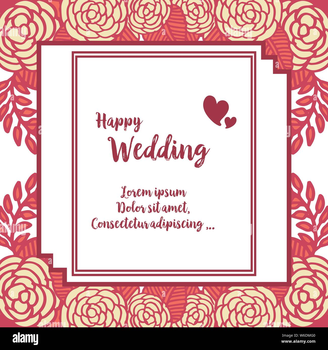 Abstract Design Of Flower Frame Lettering Of Happy Wedding