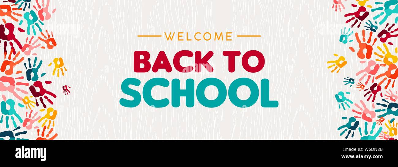 Welcome Back To School Web Banner Illustration Of Colorful Children Hand Print Background For Diverse Education Community And Creativity Stock Vector Image Art Alamy