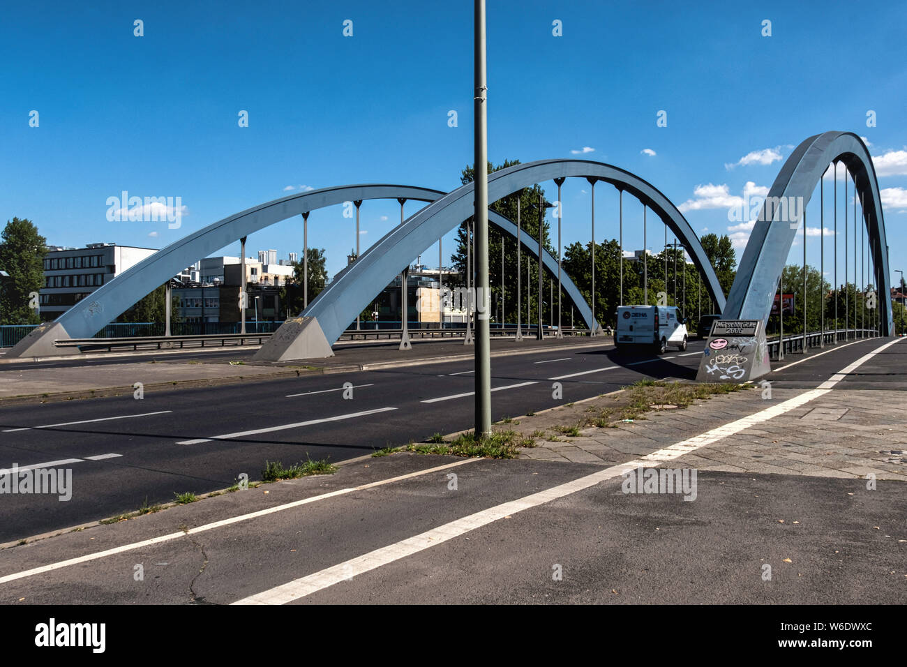 Mörsch Bridge is a road bridge, tied-arch bridge and steel bridge that was built from 2004-2006 over WesthafenKanal in Charlottenburg-Berlin. Stock Photo