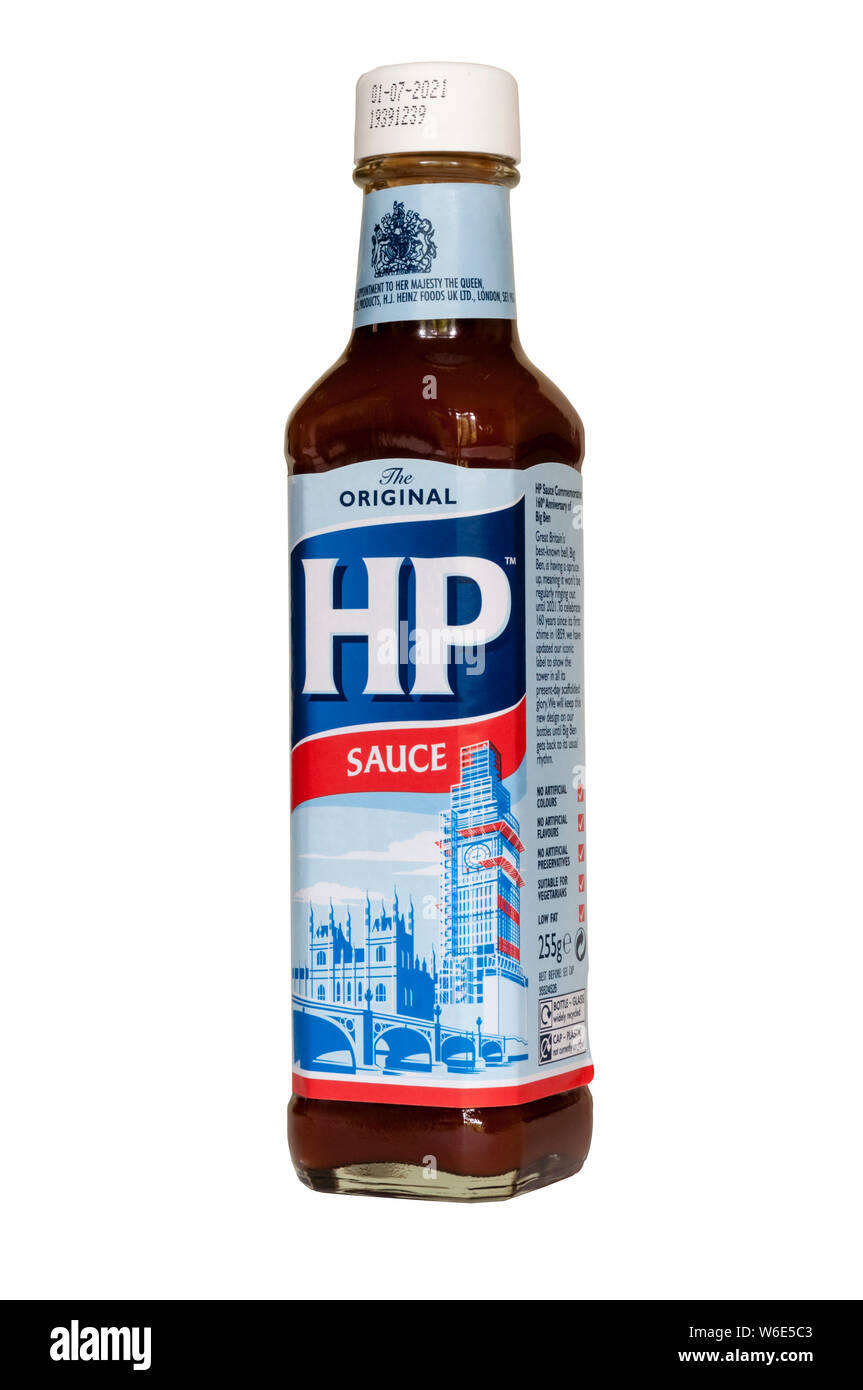 The iconic HP Sauce label has been updated to include the scaffolding currently around the Elizabeth Tower. To celebrate 160th anniversary of Big Ben. Stock Photo