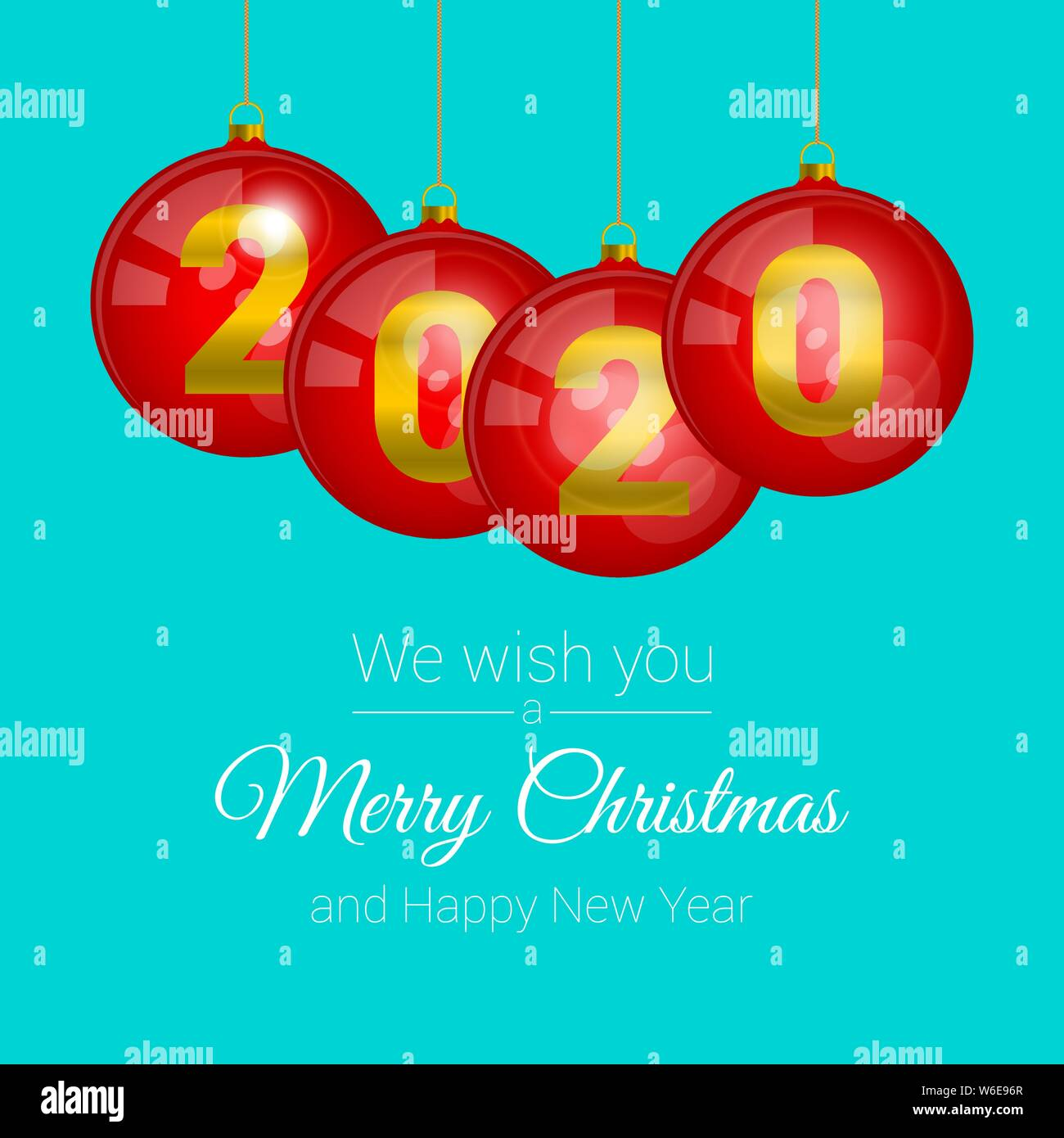 Glass Red Christmas Balls With Glares 2020 Numerals Merry Christmas And Happy New Year 2020 Background Template Christmas Greeting Card Vector Il Stock Vector Image Art Alamy