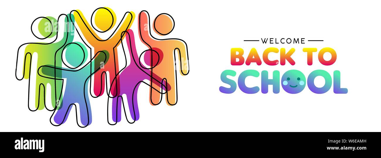 Welcome back to school card illustration of diverse colorful
