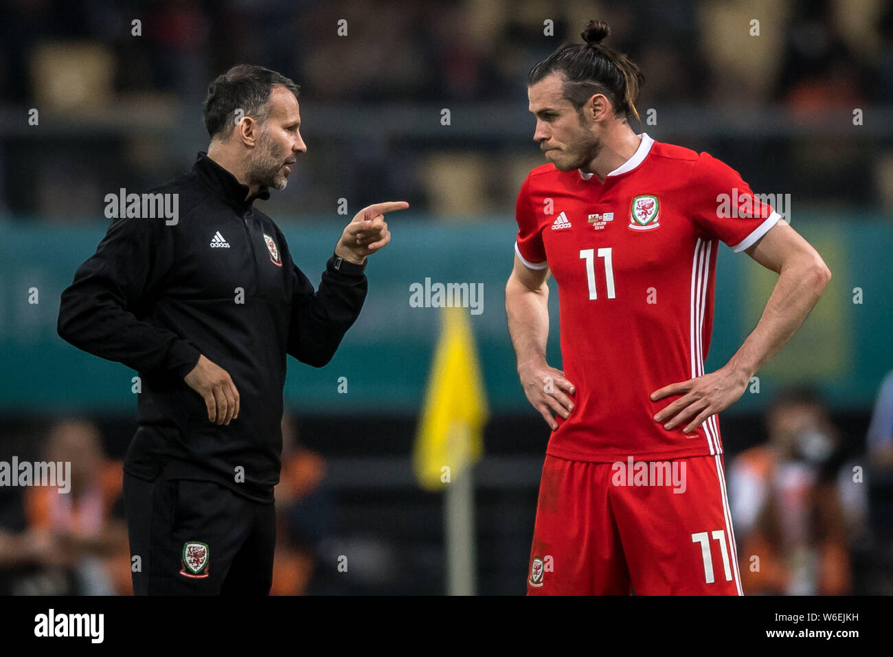 on sale d5842 a8e12 Head coach Ryan Giggs, left, of Wales national football team ...