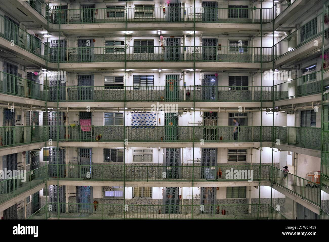 --FILE--View of the houses of public rental housing (PRH) in Hong Kong, China, 25 October 2017. Stock Photo