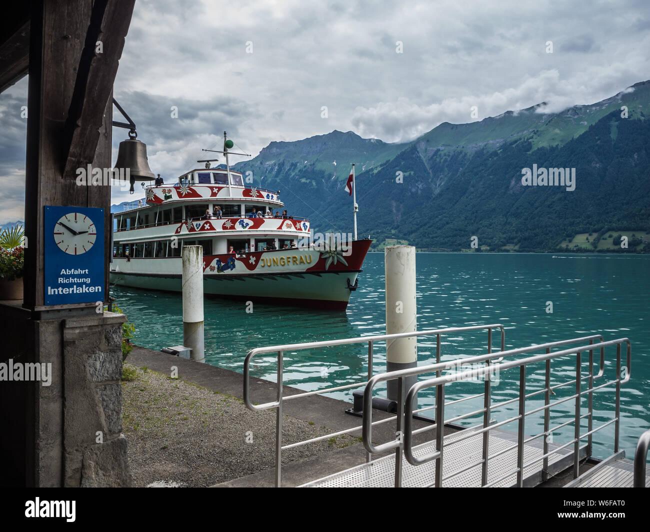 MV Jungfrau on Lake Brienz dropping passengers off at Giessbach falls Stock Photo