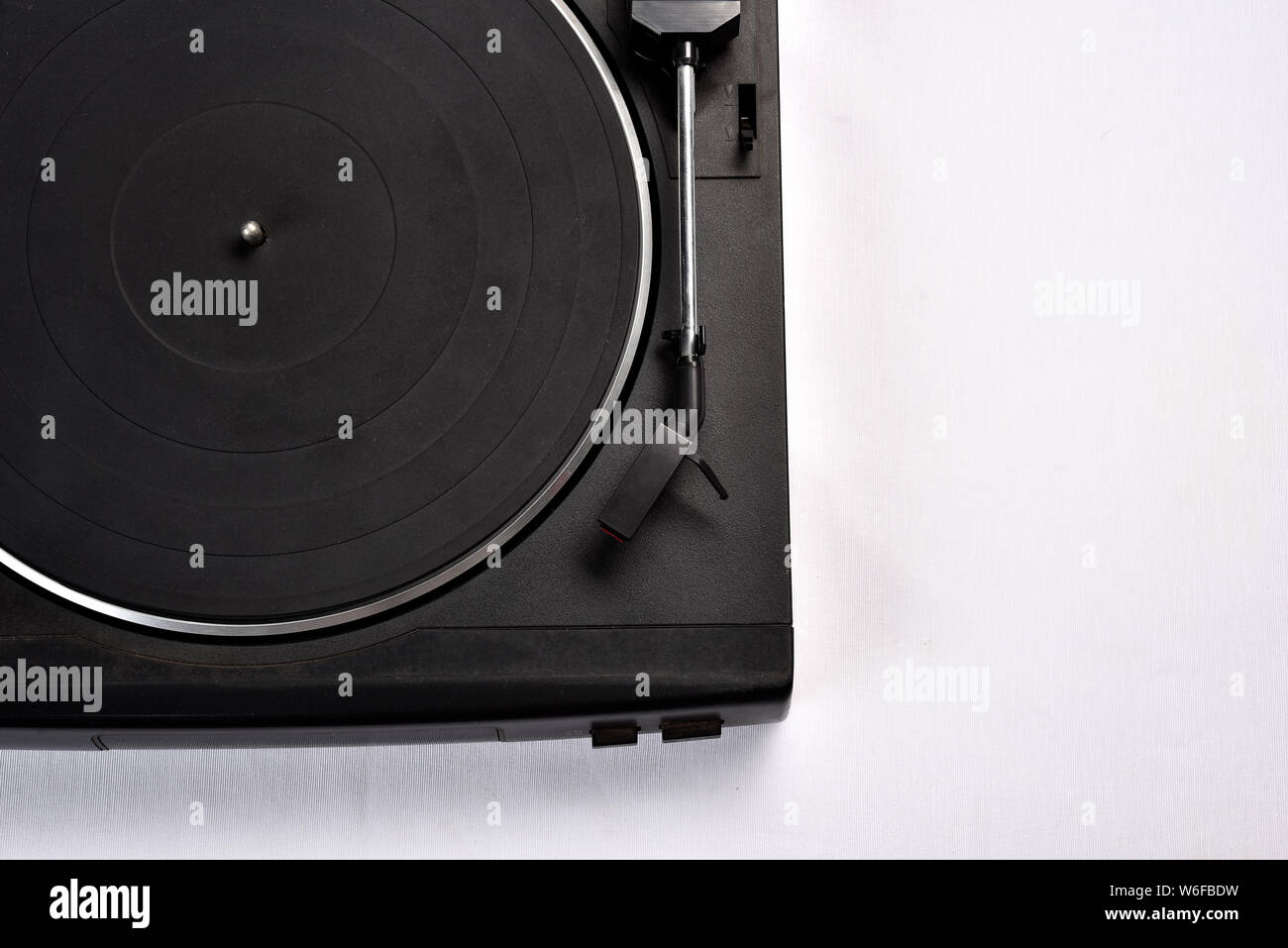 old vinyl record player on white background. Stock Photo