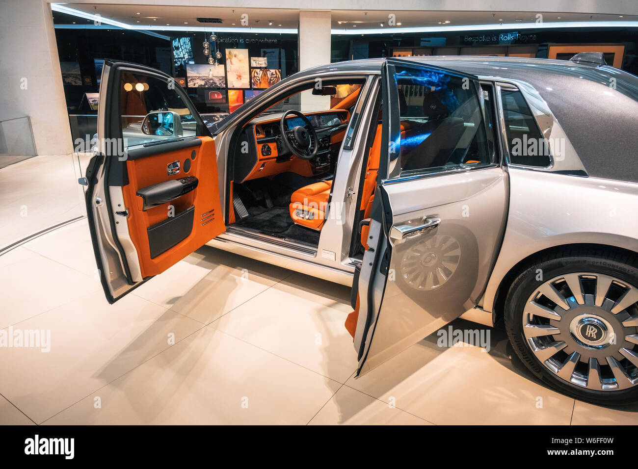 Munich Germany December 7 2017 Interior View Of Luxury Rolls Royce Phantom Viii 8 Car With Opened Doors Dashboard And Steering Wheel Stock Photo Alamy